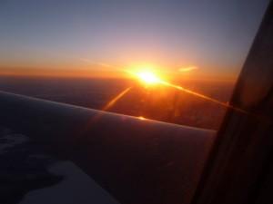 Als Belohnung für die Wartezeit: ein Sonnenuntergang